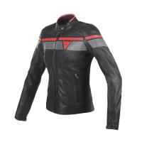DAINESE BLACKJACK LADY LEATHER JACKET - BLACK/GREY/RED куртка кож жен