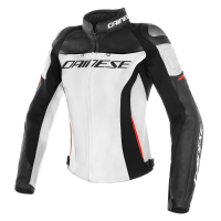 DAINESE RACING 3 LADY LEATHER JACKET - WHITE/BLACK/RED куртка кож жен