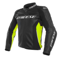 DAINESE RACING 3 LEATHER JACKET - NERO / NERO / GIALLO FLUO куртка кож муж