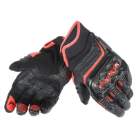 DAINESE CARBON D1 SHORT GLOVES - BLACK/BLACK/FLUO-RED перчатки короткие муж